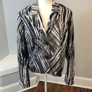 Tribal Stretch Black Tam Stripe Jacket Blazer 16